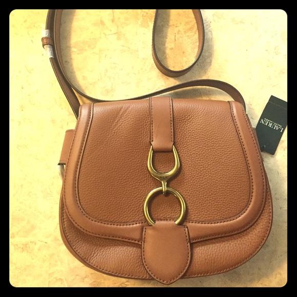 11c6dcfe01b0 NWT Ralph Lauren Barrington Lg Saddle Bag- Brown